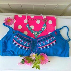 💙NWT Xhilaration Boho Blue Aztec Bikini Top XL